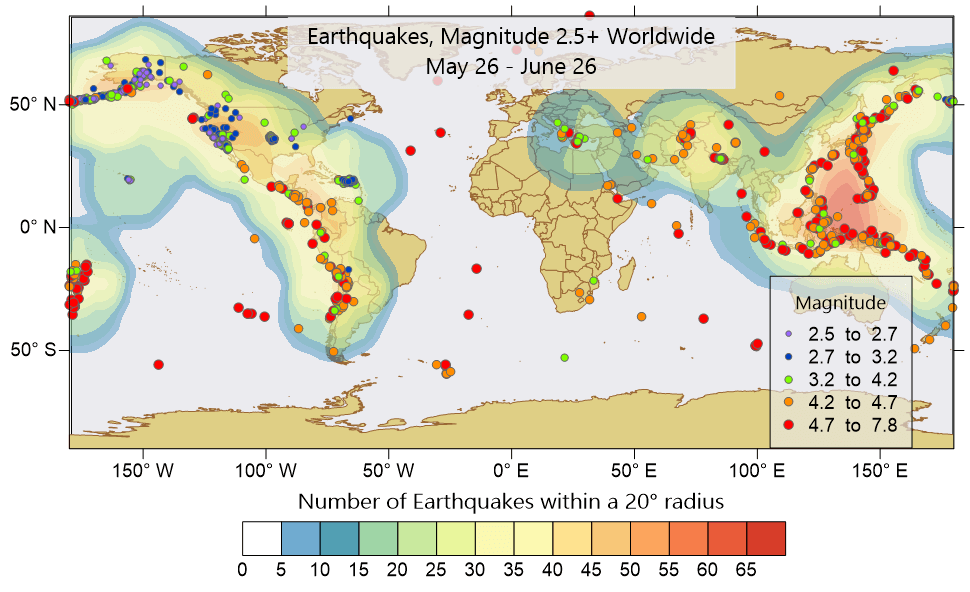 Surfer 2D & 3D mapping, modeling and analysis software: Contour and post map of earthquake magnitudes greater than 2.5