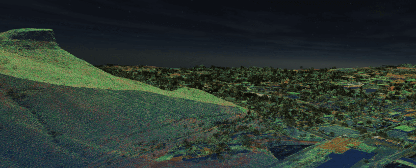 Surfer 2D & 3D mapping, modeling, and analysis software: LiDAR point cloud of Golden, Colorado