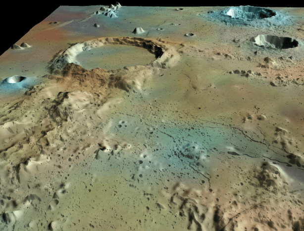Surfer 2D & 3D modeling and analysis software: 3D surface map of the moon