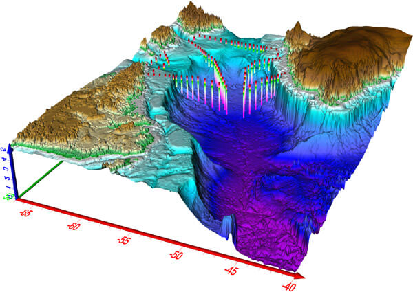 Voxler-3D geologic and scientific modeling software: 3D map showing ocean currents and elevation