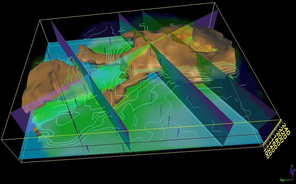 Voxler-3D geologic and scientific modeling software: 3D model of Electrical Resistance Tomography (ERT)