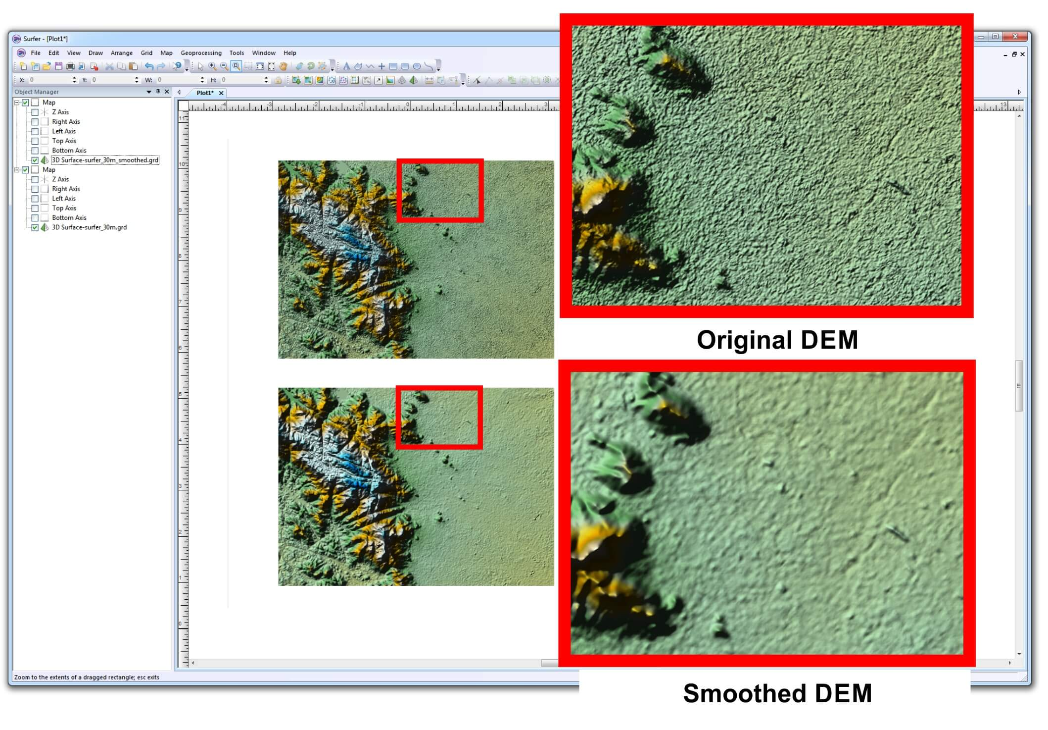 Surfer mapping software - smoothing elevation data (DEM) before and after