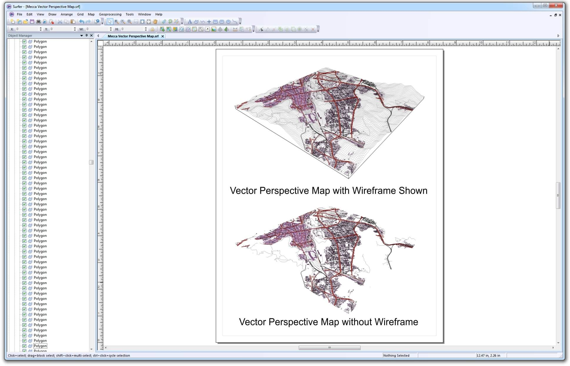 Surfer mapping software - 3D wireframe map created from DEM data with overlain vector .shp files
